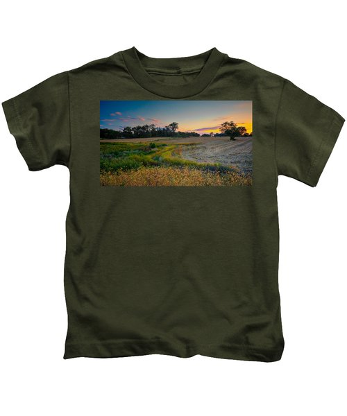 October Evening On The Farm Kids T-Shirt