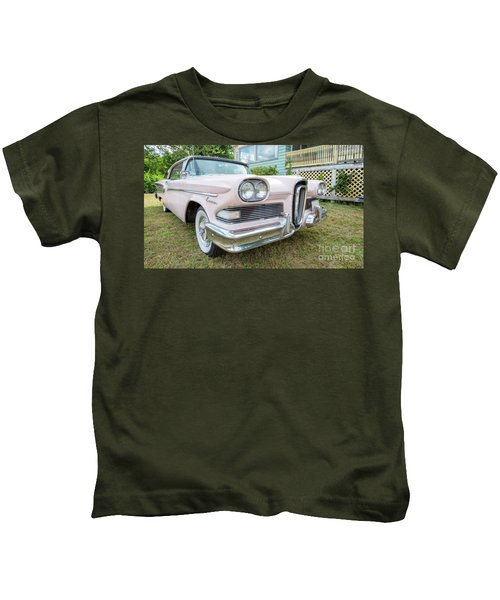 Old Pink Edsel Car In Front Of Old House Kids T-Shirt