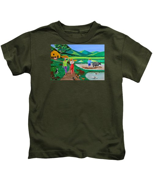 One Beautiful Morning In The Farm Kids T-Shirt by Cyril Maza