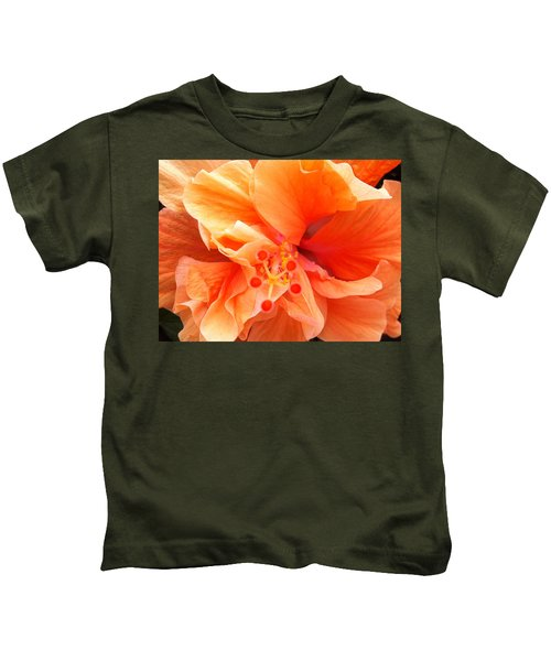 Orange Hibiscus Kids T-Shirt