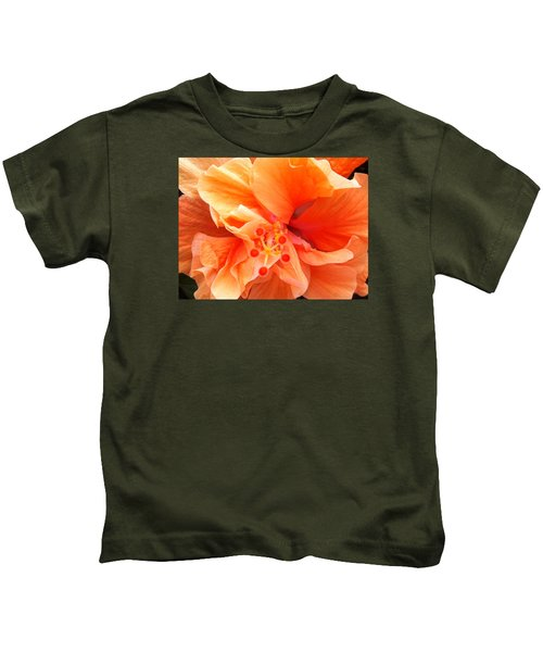 Orange Hibiscus Kids T-Shirt