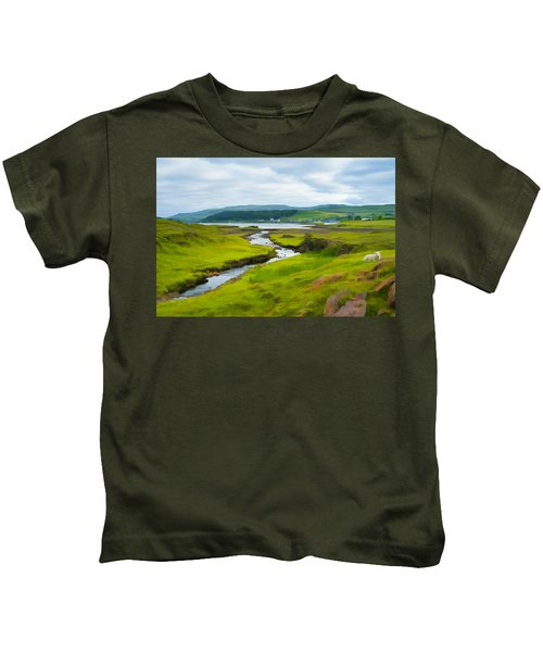 Osdale River Leading Into Loch Dunvegan In Scotland Kids T-Shirt