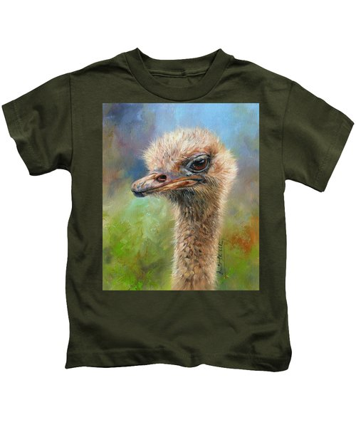 Ostrich Kids T-Shirt by David Stribbling
