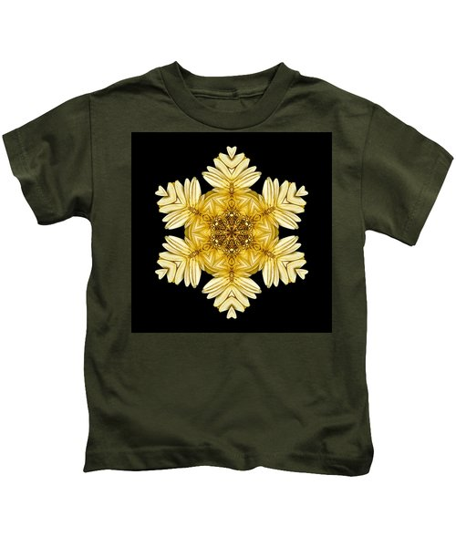 Pale Yellow Gerbera Daisy Vii Flower Mandalaflower Mandala Kids T-Shirt