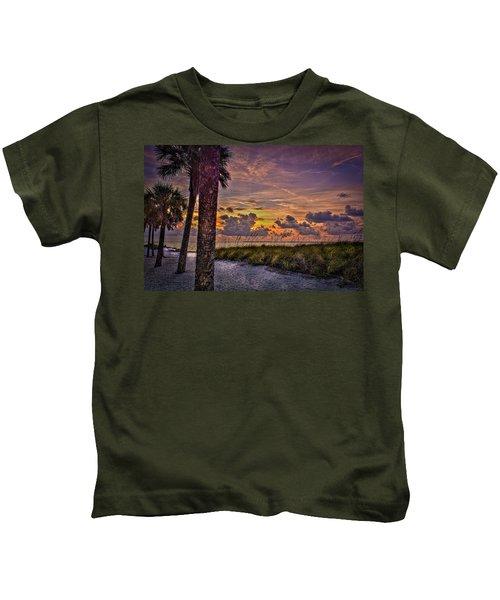 Palms Down To The Beach Kids T-Shirt