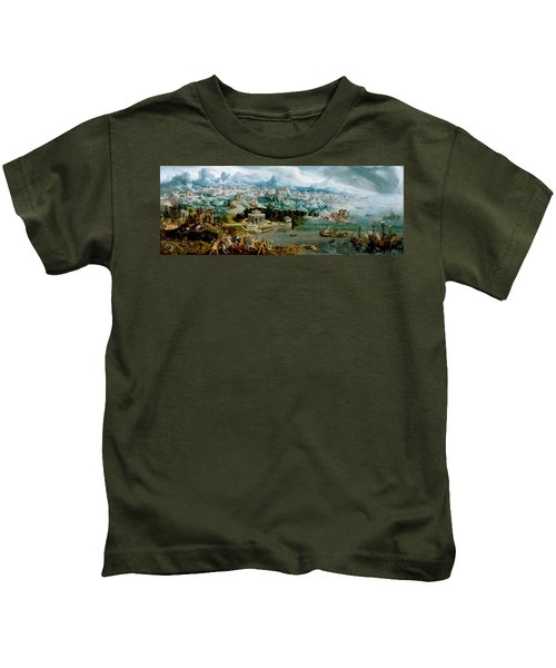 Panorama With The Abduction Of Helen Amidst The Wonders Of The Ancient World Kids T-Shirt