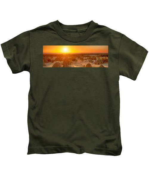 Panoramic Photo Of Sunset At The Pinnacles Kids T-Shirt
