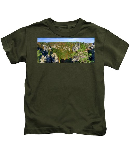 Panoramic View Of The Elbe Sandstone Mountains Kids T-Shirt