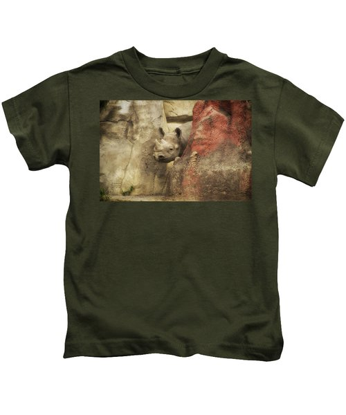 Peek A Boo Rhino Kids T-Shirt by Thomas Woolworth
