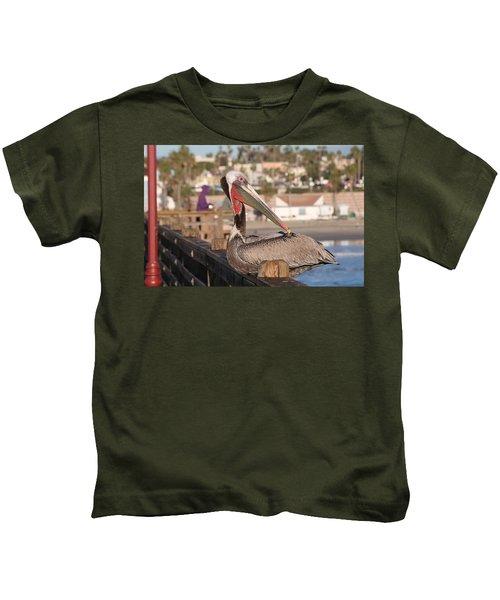 Pelican Sitting On Pier  Kids T-Shirt