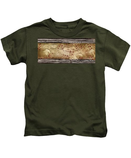 Petroglyph - Ensemble Of Red Dots And Short Strokes - Prehistoric Art - The Plains - Prarie Country Kids T-Shirt