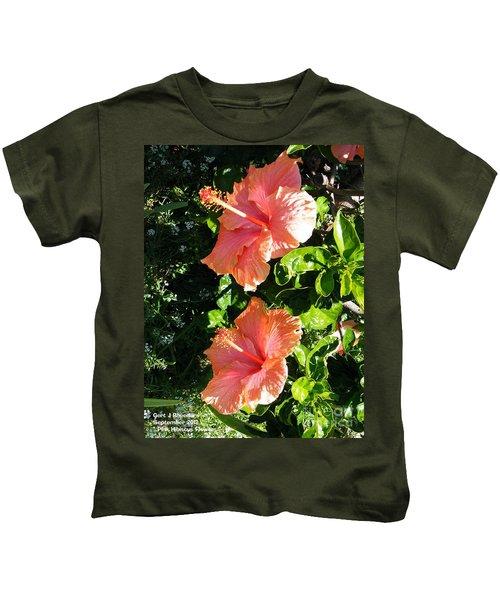 Pink Hibiscus Flowers Kids T-Shirt