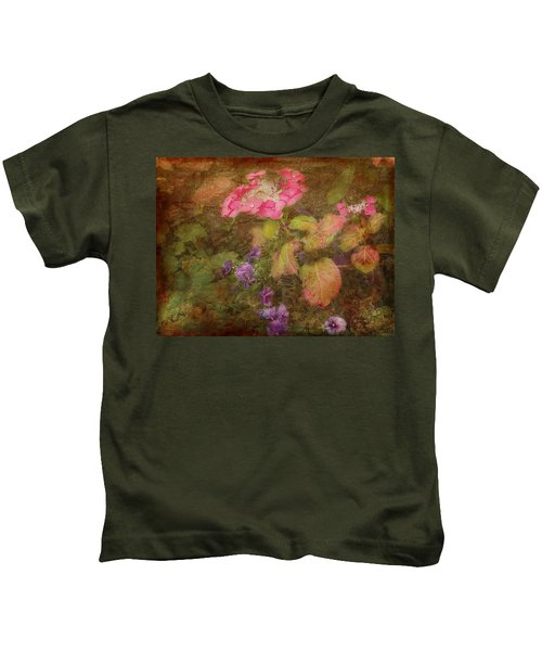 Pink Hydrangea And Purple Pansies Kids T-Shirt