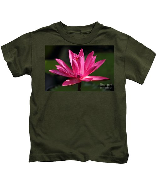 Pink Water Lily Kids T-Shirt