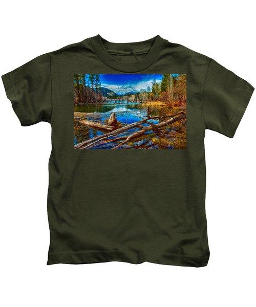 Pondering A Mountain Kids T-Shirt
