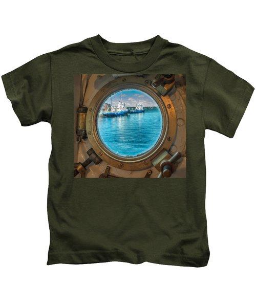 Hmcs Haida Porthole  Kids T-Shirt