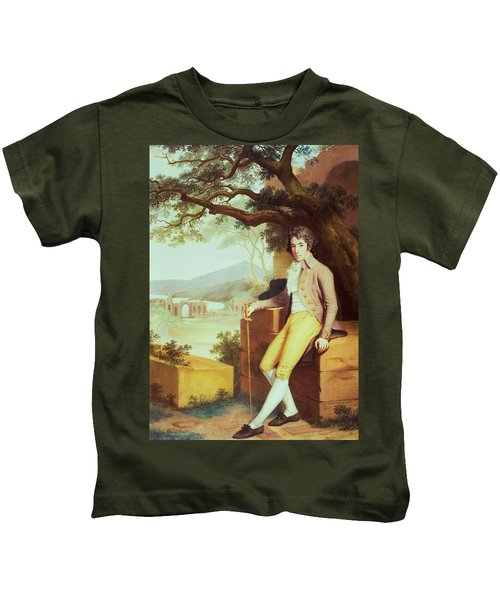 Portrait Of Colonel David La Touche Of Marcey With The Amphitheatre Of Taormina And Etna Behind Kids T-Shirt