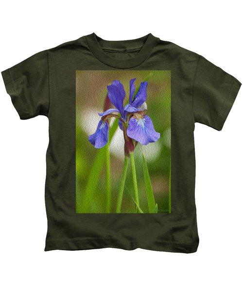 Purple Bearded Iris Oil Kids T-Shirt
