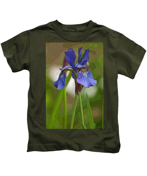 Purple Bearded Iris Watercolor With Pen Kids T-Shirt