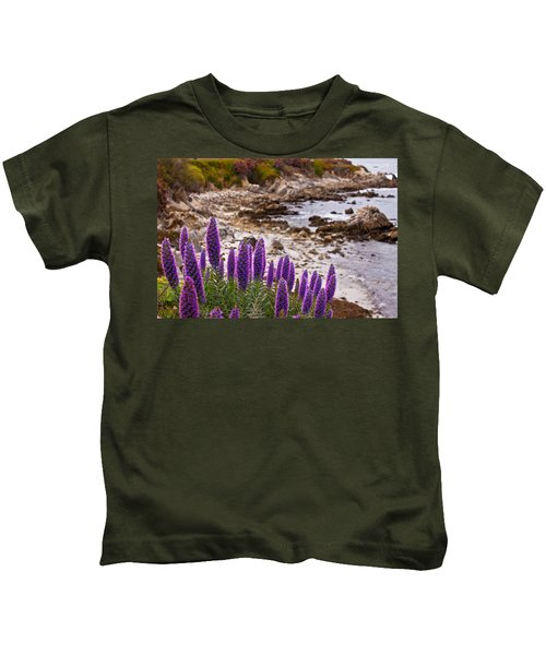 Purple California Coastline Kids T-Shirt