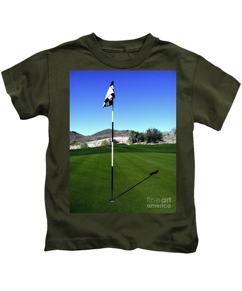 Putting Green And Flag On Golf Course Kids T-Shirt