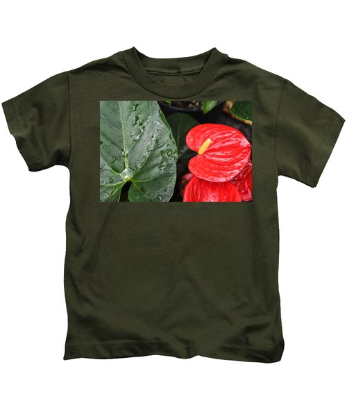 Red Anthurium Flower Kids T-Shirt
