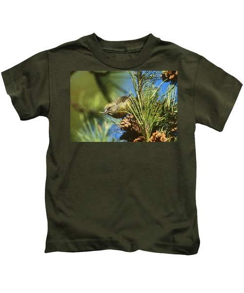 Red Crossbill Eating Cone Seeds Kids T-Shirt