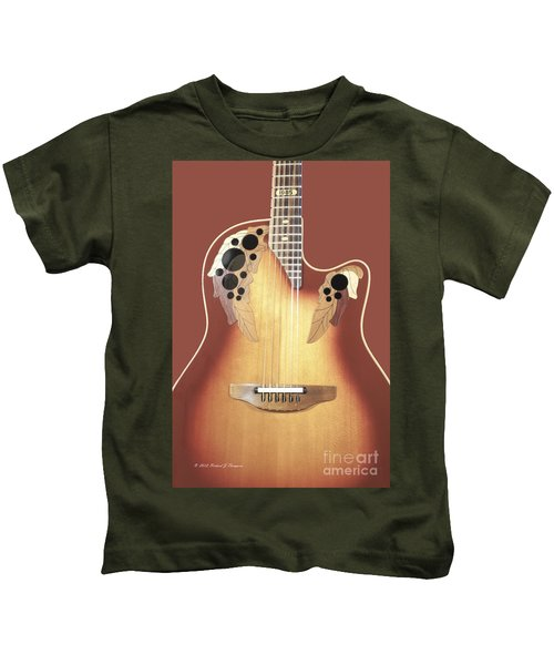 Redish-brown Guitar On Redish-brown Background Kids T-Shirt