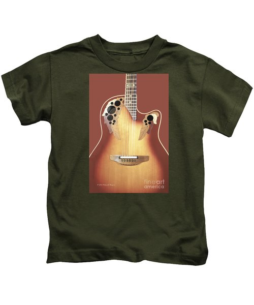 Redish-brown Guitar On Redish-brown Background Kids T-Shirt