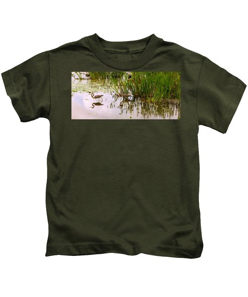 Reflection Of Cranes On Water, Boynton Kids T-Shirt