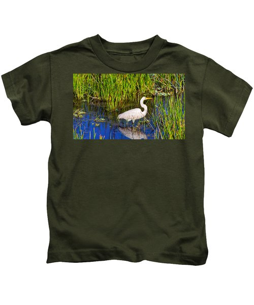 Reflection Of White Crane In Pond Kids T-Shirt