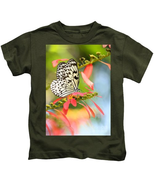 Rice Paper Butterfly In The Garden Kids T-Shirt