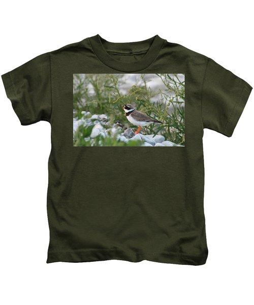 Ringed Plover On Rocky Shore Kids T-Shirt