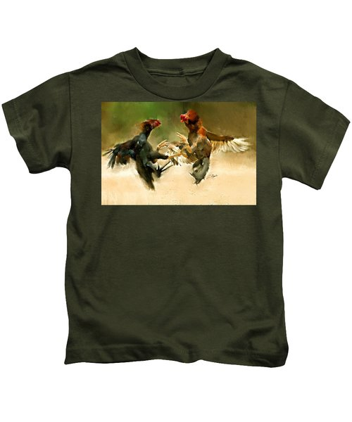 Rooster Fight Hd Kids T-Shirt