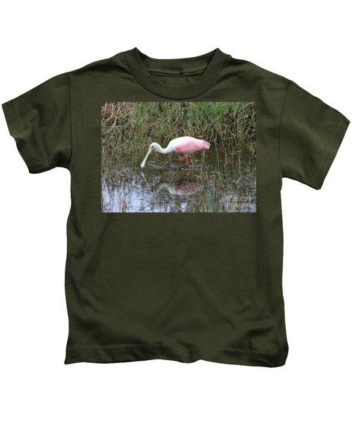 Roseate Spoonbill Reflection Kids T-Shirt by Carol Groenen