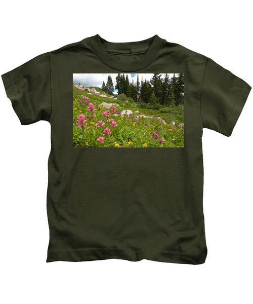 Rosy Paintbrush And Trees Kids T-Shirt