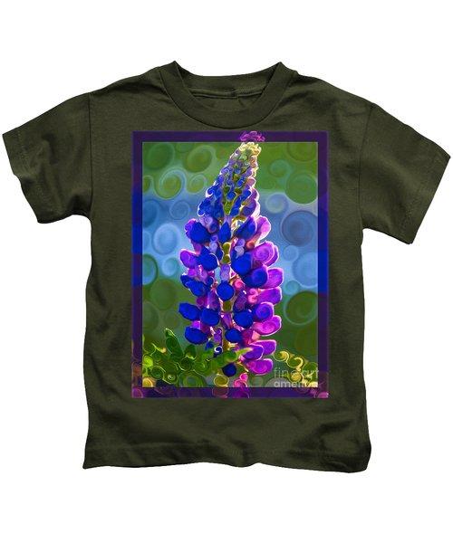 Royal Purple Lupine Flower Abstract Art Kids T-Shirt