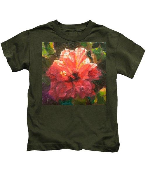 Ruffled Light Double Hibiscus Flower Kids T-Shirt