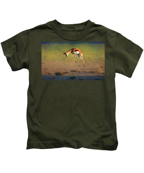 Running Springbok Jumping High Kids T-Shirt