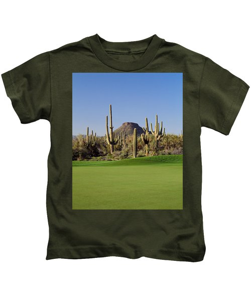 Saguaro Cacti In A Golf Course, Troon Kids T-Shirt