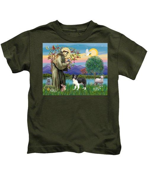 Saint Francis Blesses A Border Collie Kids T-Shirt