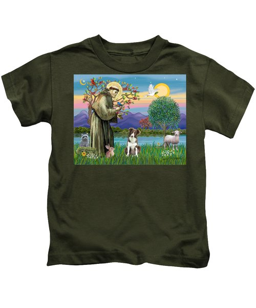 Saint Francis Blesses A Brown And White Border Collie Kids T-Shirt