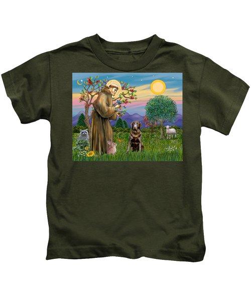 Saint Francis Blesses A Chocolate Labrador Retriever Kids T-Shirt