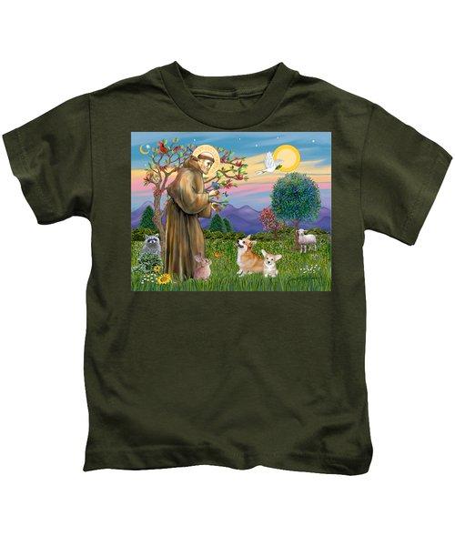 Saint Francis Blesses A Corgi And Her Pup Kids T-Shirt