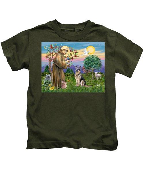 Saint Francis Blesses A German Shepherd Kids T-Shirt