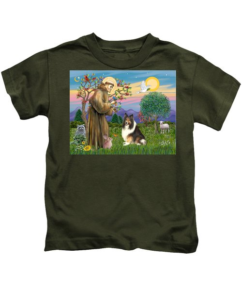 Saint Francis Blesses A Sable And White Collie Kids T-Shirt