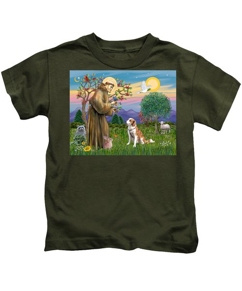 Saint Francis Blesses A Welsh Springer Spaniel Kids T-Shirt