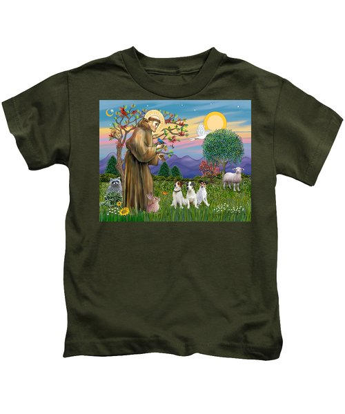 Saint Francis Blesses Three Jack Russell Terriers Kids T-Shirt