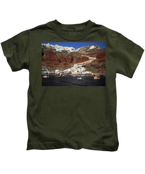 Kids T-Shirt featuring the photograph Santorini  Island  View To Oia Greece by Colette V Hera  Guggenheim