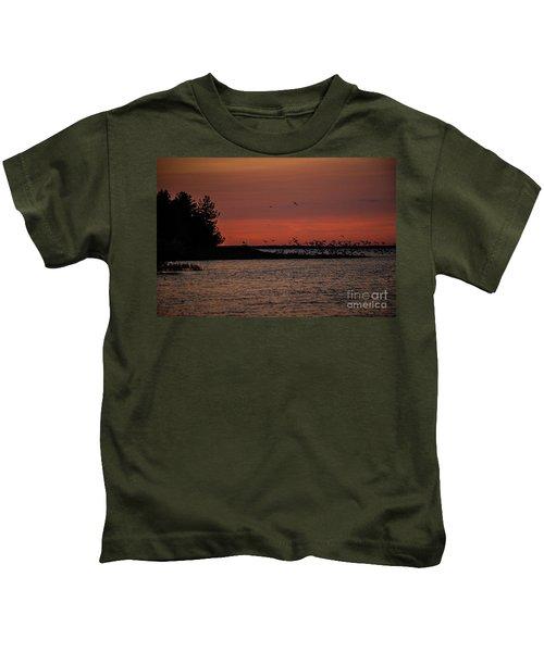 Seagulls At Sunset Kids T-Shirt